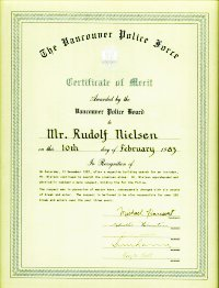 The Certificate of Merit presented to Rudy by the City of Vancouver